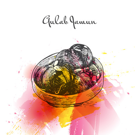 gulab: Gulab Jamun watercolor effect illustration. Vector illustration of Indian cuisine.