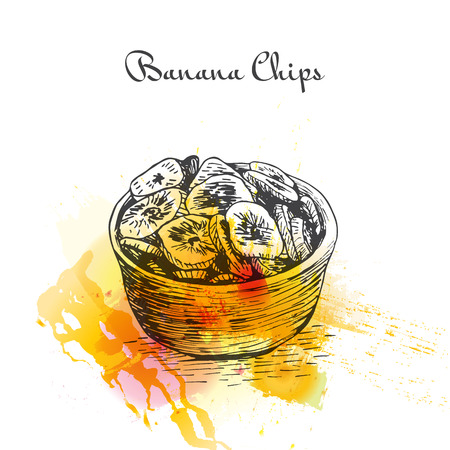 dehydrated: Banana Chips watercolor effect illustration. Vector illustration of Indian cuisine.