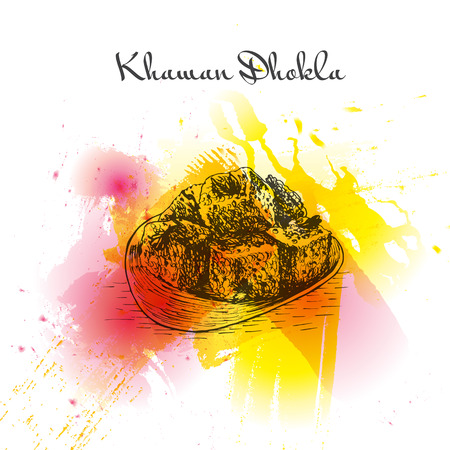 cooked rice: Khaman Dhokla watercolor effect illustration. Vector illustration of Indian cuisine.
