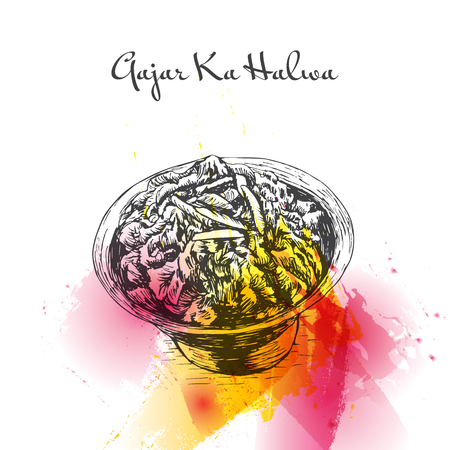 Gajar Ka Halva watercolor effect illustration. Vector illustration of Indian cuisine. Illustration