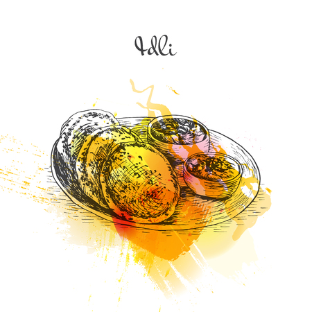 chutney: Idli watercolor effect illustration. Vector illustration of Indian cuisine.