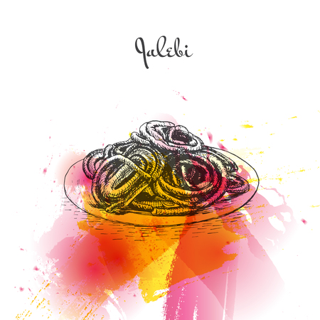 middle eastern food: Jalebi watercolor effect illustration. Vector illustration of Indian cuisine.