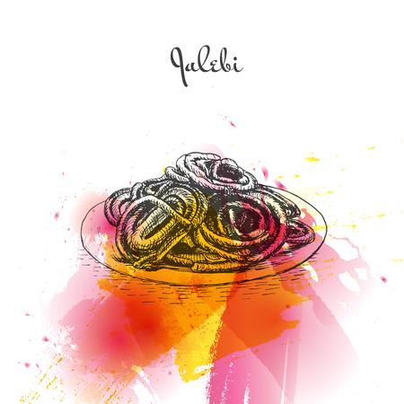 middle eastern food: Jalebi watercolor effect illustration. Vector illustration of Indian cuisine.