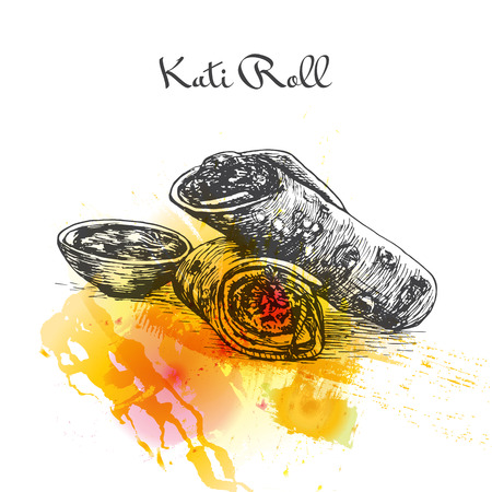 Kati Roll watercolor effect illustration. Vector illustration of Indian cuisine. Illustration