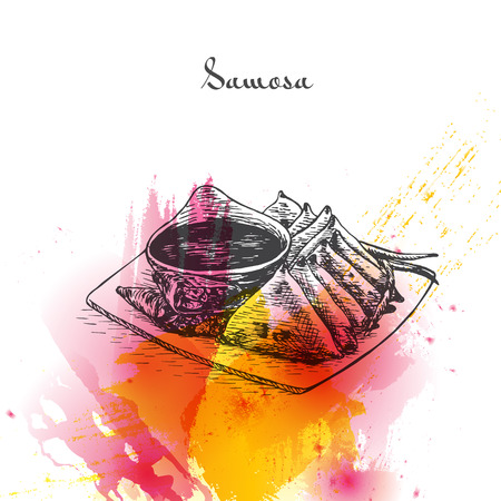 Samosa watercolor effect illustration. Vector illustration of Indian cuisine.