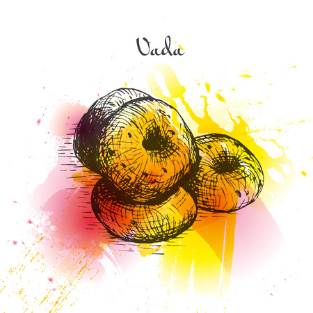 starter: Vada watercolor effect illustration. Vector illustration of Indian cuisine.