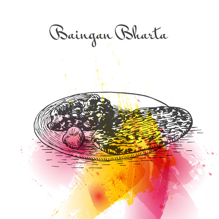 Baingan Bharta watercolor effect illustration. Vector illustration of Indian cuisine.