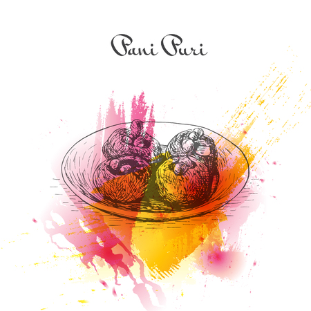 pani: Pani Puri watercolor effect illustration. Vector illustration of Indian cuisine. Illustration