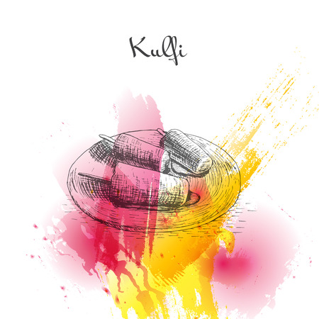 Kulfi watercolor effect illustration. Vector illustration of Indian cuisine. Illustration