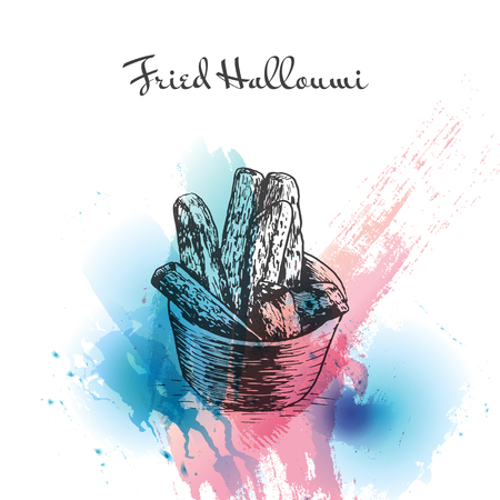 israeli: Fried Halloumi watercolor effect illustration. Vector illustration of Israeli cuisine.