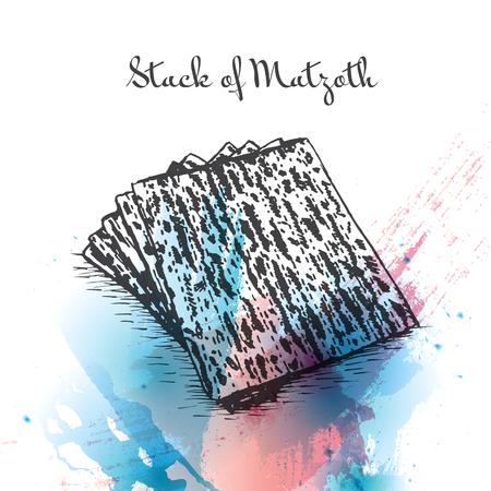 Stack of Matzoth watercolor effect illustration. Vector illustration of Israeli cuisine.