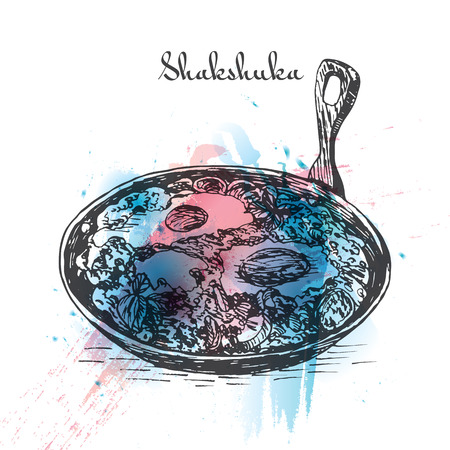 Shaksuka effet d'aquarelle illustration. Vector illustration de la cuisine israélienne.