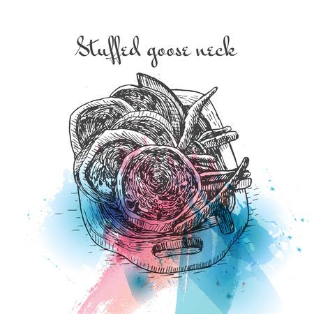 Stuffed goose or chicken neck watercolor effect illustration. Vector illustration of Israeli cuisine