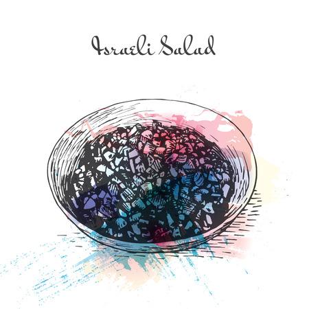 israeli: Israeli Salad watercolor effect illustration. Vector illustration of Israeli cuisine. Illustration
