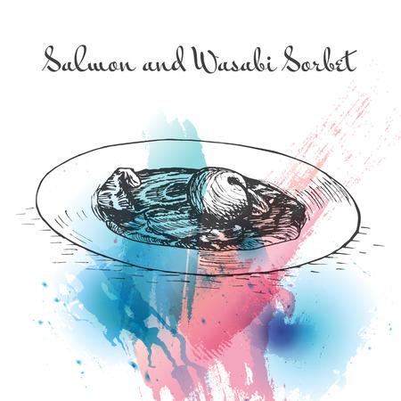 sherbet: Salmon and Wasabi Sorbet watercolor effect illustration. Vector illustration of Israeli cuisine. Illustration