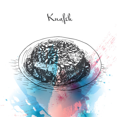 middle eastern food: Knafeh watercolor effect illustration. Vector illustration of Israeli cuisine. Illustration