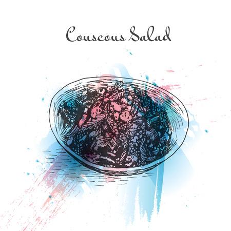 Couscous salad watercolor effect illustration. Vector illustration of Israeli cuisine. Illustration