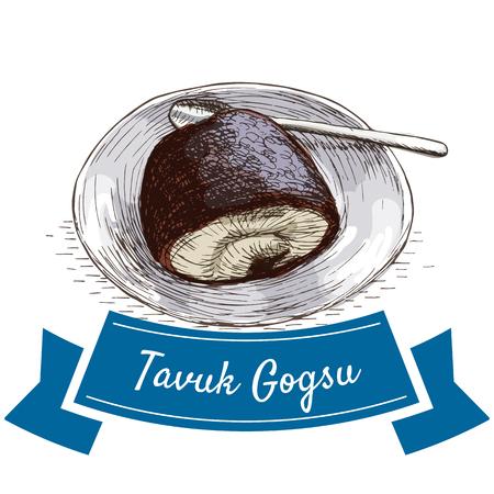 Tavuk Gogsu colorful illustration. Vector illustration of turkish cuisine. Stok Fotoğraf - 67909246