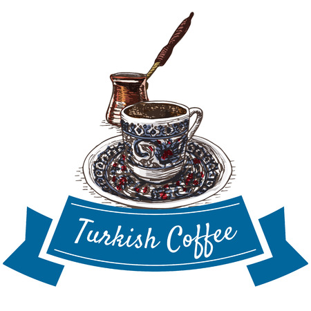 Turkish Coffee colorful illustration. Vector illustration of turkish cuisine. Vector Illustration