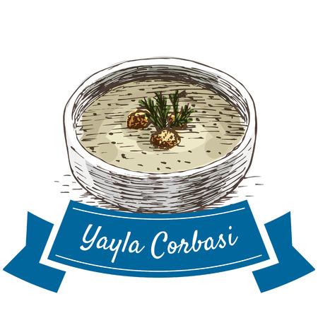 Yayla Corbasi colorful illustration. Vector illustration of turkish cuisine.