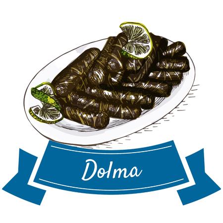 mediterranean diet: Dolma colorful illustration. Vector illustration of turkish cuisine. Illustration