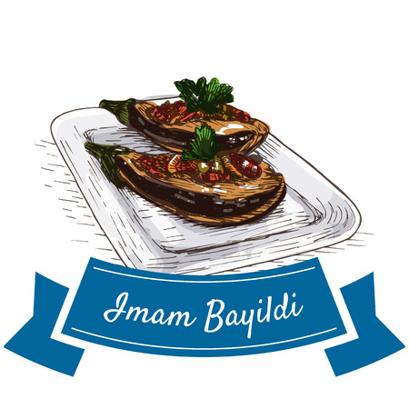 Iman Bayildi colorful illustration. Vector illustration of turkish cuisine.