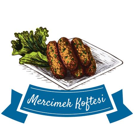 Mercimek Koftesi colorful illustration. Vector illustration of turkish cuisine.