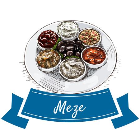 Meze colorful illustration. Vector illustration of turkish cuisine.