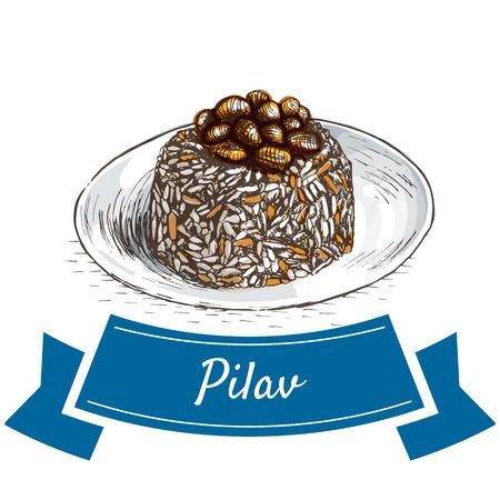 mediterranean diet: Pilav colorful illustration. Vector illustration of turkish cuisine.