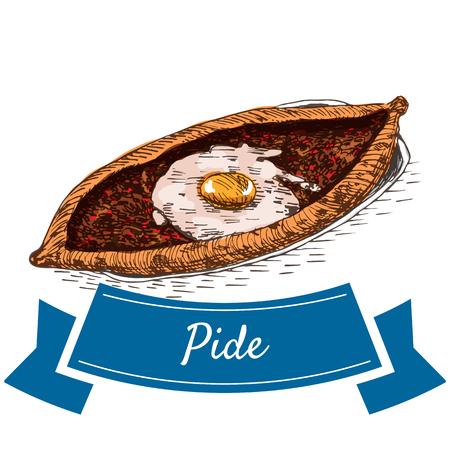 Pide colorful illustration. Vector illustration of turkish cuisine. Ilustração