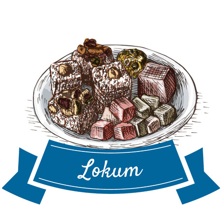 Lokum colorful illustration. Vector illustration of turkish cuisine.