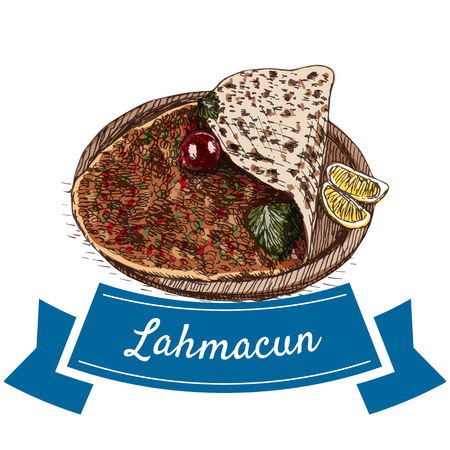 Lahmacun colorful illustration. Vector illustration of turkish cuisine.