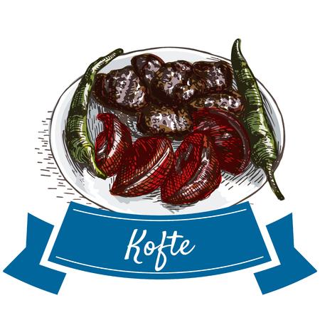 anatolian: Kofte colorful illustration. Vector illustration of turkish cuisine. Illustration