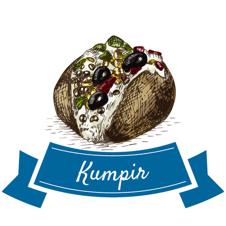 Kumpir colorful illustration. Vector illustration of turkish cuisine.