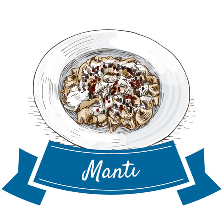Manti colorful illustration. Vector illustration of turkish cuisine.