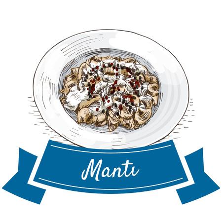 middle eastern food: Manti colorful illustration. Vector illustration of turkish cuisine.