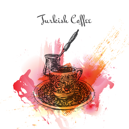 Turkish Coffee watercolor effect illustration. Vector illustration of Turkish cuisine.