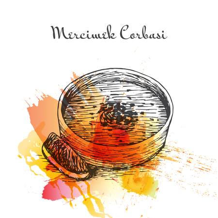 middle eastern food: Mercimek Corbasi watercolor effect illustration. Vector illustration of Turkish cuisine.