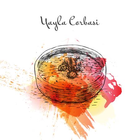 Yayla Corbasi watercolor effect illustration. Vector illustration of Turkish cuisine.