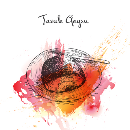 Tavuk Gogsu watercolor effect illustration. Vector illustration of Turkish cuisine. Stok Fotoğraf - 67909240