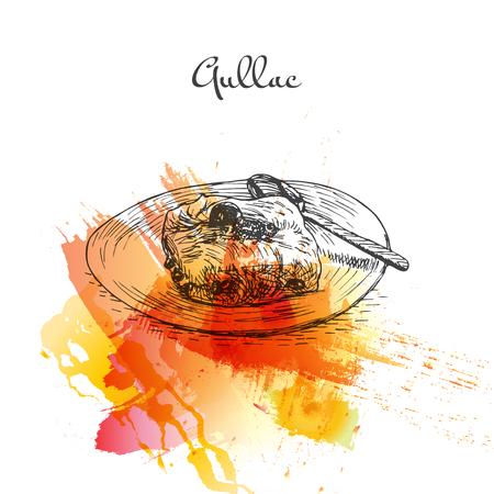 Gullac watercolor effect illustration. Vector illustration of Turkish cuisine.
