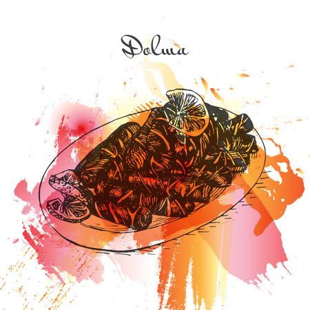mediterranean diet: Dolma watercolor effect illustration. Vector illustration of Turkish cuisine.