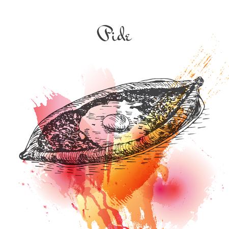 homemade bread: Pide watercolor effect illustration. Vector illustration of Turkish cuisine. Illustration