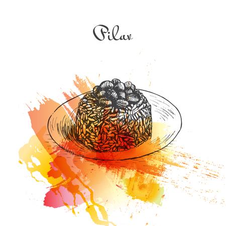 mediterranean diet: Pilav watercolor effect illustration. Vector illustration of Turkish cuisine.