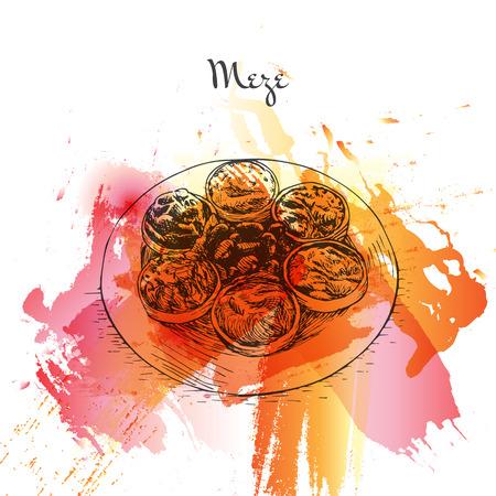side table: Meze watercolor effect illustration. Vector illustration of Turkish cuisine. Illustration