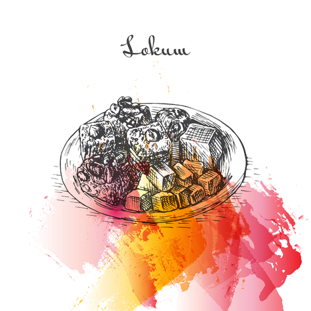 Lokum watercolor effect illustration. Vector illustration of Turkish cuisine.