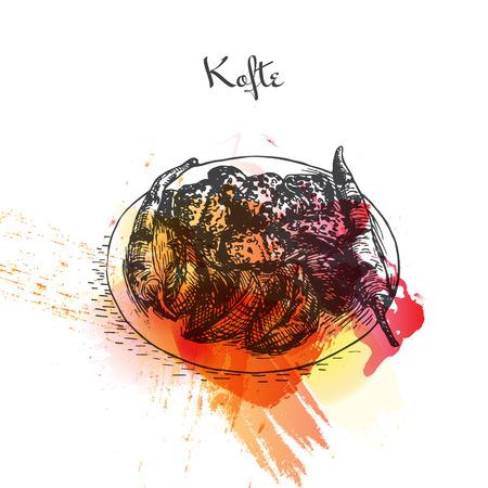 Kofte watercolor effect illustration. Vector illustration of Turkish cuisine. Illustration