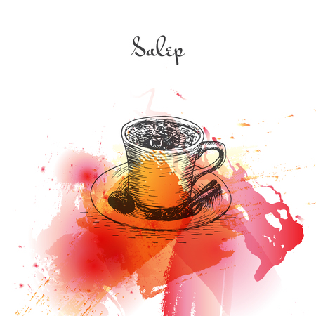 Salep watercolor effect illustration. Vector illustration of Turkish cuisine.