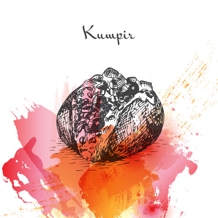 Kumpir watercolor effect illustration. Vector illustration of Turkish cuisine.