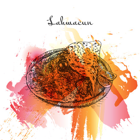 Lahmacun watercolor effect illustration. Vector illustration of Turkish cuisine.